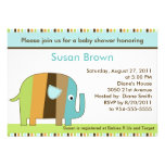Striped African Elephant Baby Shower Invitation