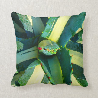 Striped Agave Americana Succulent Throw Pillows