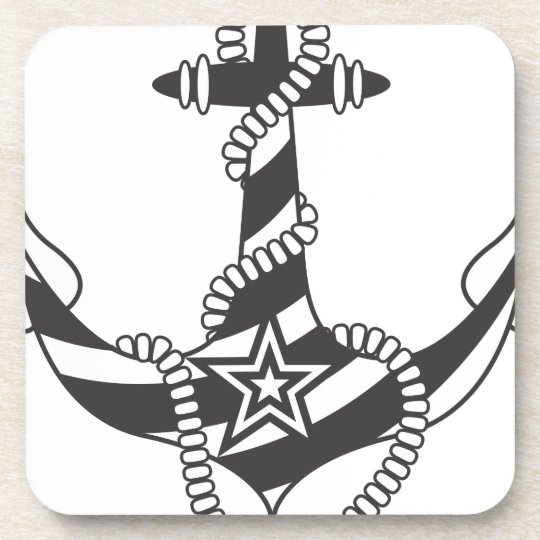 Striped Anchor Down Light House Pattern Coaster