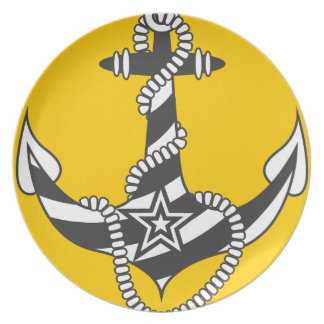 Striped Anchor Down Light House Pattern Dinner Plates