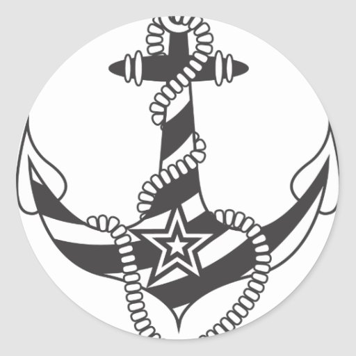 Striped Anchor Down Light House Pattern Round Stickers