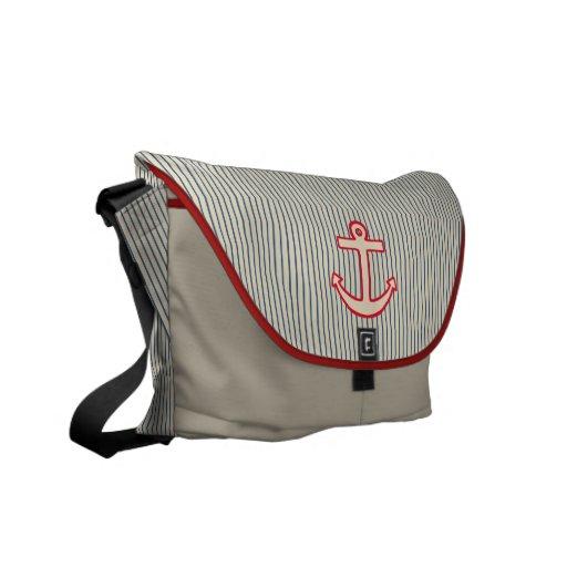 Striped Anchor Messenger Bag