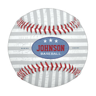striped and personalized baseball