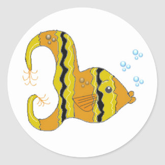 Striped Angel Fish Classic Round Sticker