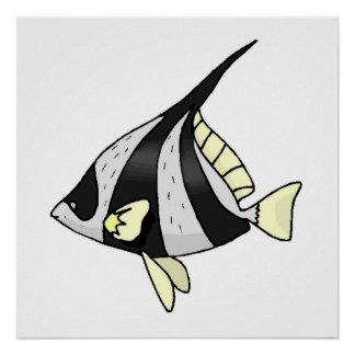 Striped Angel Fish Poster