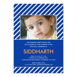 Striped Annaprashan (First Rice) Blue Invitation