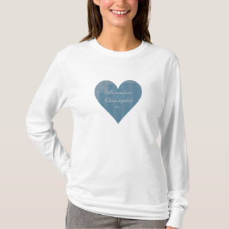 """Striped Antique Heart"" - Personalized w/ Date T-Shirt"
