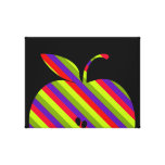 Striped Apple on Black Stretched Canvas Prints