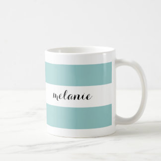 Striped Aqua Personalized Mug