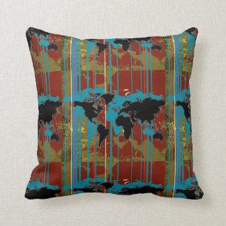 striped art map throw pillow