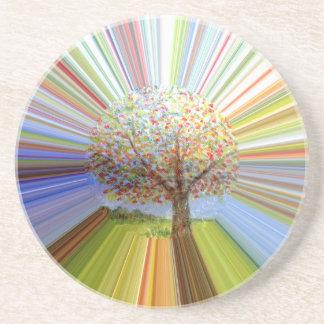 Striped Autumn Tree Art Drink Coaster