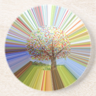 Striped Autumn Tree Art Sandstone Coaster