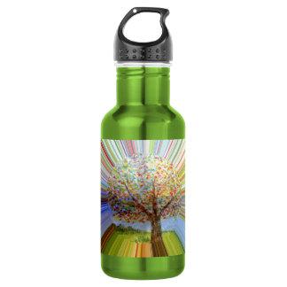Striped Autumn Tree Art Water Bottle