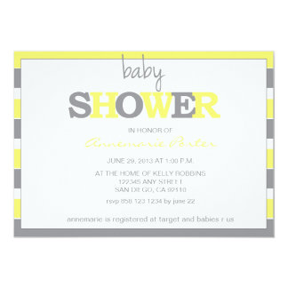 Striped Baby Shower Invitation-Grey and Yellow