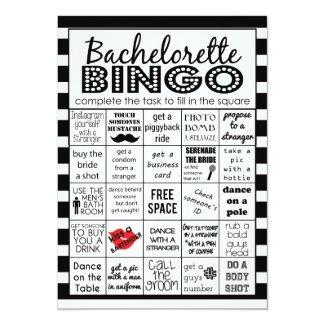 Striped Bachelorette Bingo, Party Game, Challenge Invitation