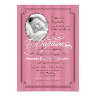 Striped Baptism Invitation (Dark Pink)