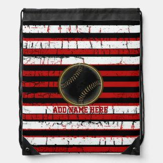 striped baseball sport personalized drawstring bag