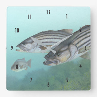 Striped bass fish illustration square wall clock