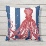 Striped Beach Ocean Red Octopus Modern Vintage 3 Outdoor Pillow