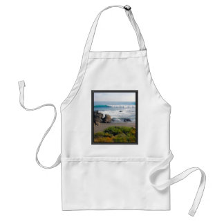 Striped Beach of Evergreens Sand Rocks and Ocean Adult Apron