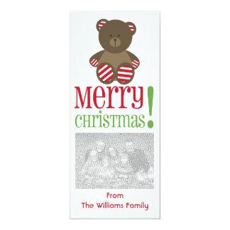 Striped Bear Christmas Photo Invite Greeting