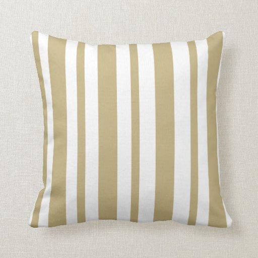 Striped: Beige & White throw pillow Zazzle