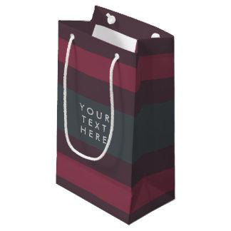 Striped Berry & Petrol Custom Small Gift Bag