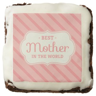 Striped Best Mother In The World Chocolate Brownie