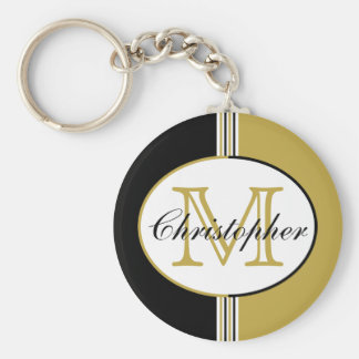 Striped Black and Antique Gold Monogram Keychain