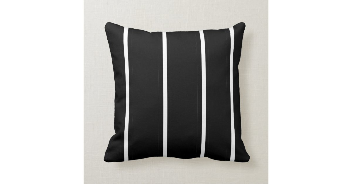 White Square Throw Pillows : Striped Black and White > Square Throw Pillow Zazzle