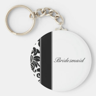 Striped black white and grey damask Wedding set Keychain