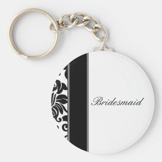 Striped black white and grey damask Wedding set Keychain
