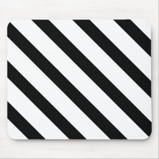 Striped (Black & White | Diagonal) Any Size Custom Mouse Pad