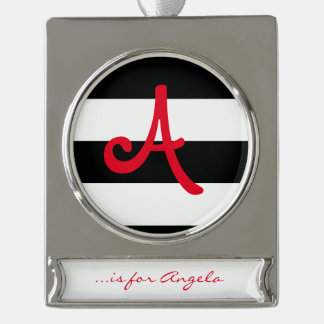 Striped (Black & White   Horizontal) Customizable Silver Plated Banner Ornament
