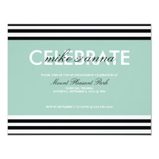 Striped Black, White, & Mint Engagement Party Card
