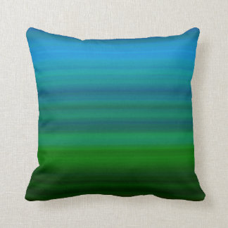 Striped Blend in blue and green Throw Pillow