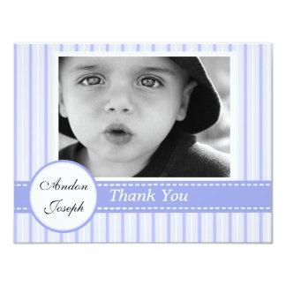 Striped Blue Cross Flat Thank You Card