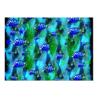 Striped Blue Fish and Stars Card