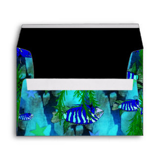 Striped Blue Fish and Stars Envelope