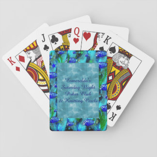 Striped Blue Fish and Stars Playing Cards