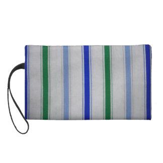 Striped blue & green on white Baggettes Bag Wristlets