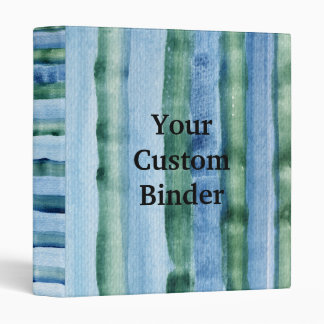 Striped Blue & Green Watercolor Painting Binder