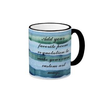 Striped Blue & Green Watercolor Painting Coffee Mug
