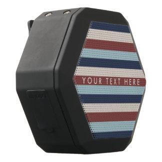 Striped Blue & Marsala Custom Black Bluetooth Speaker