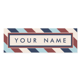 Striped Blue & Marsala Custom Double-Sided Mini Business Cards (Pack Of 20)