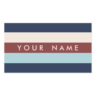 Striped Blue & Marsala Custom Double-Sided Standard Business Cards (Pack Of 100)