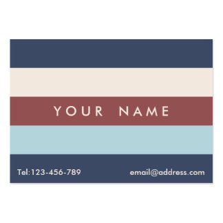 Striped Blue & Marsala Custom Chubby Large Business Cards (Pack Of 100)