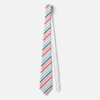Striped Blue Red Diagonal Stripes Neck Tie