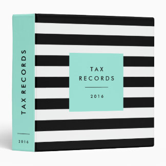 Striped Blue Tax Records 3 Ring Binder