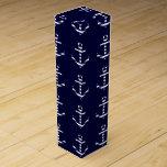 Striped blue white anchor wine gift box